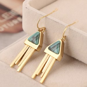 Trendy Triangle Natural Stone Tassel Drop Earrings Geometric Dangle Earrings for Women Girls Fashion Party Jewelry Vintage Earring