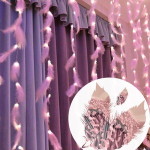 Led Feather String Lights Decoration Fairy String Light Battery Powered Remote Control Decor Bedroom Living Room Curtain