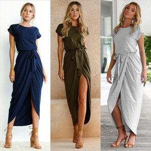 Short Sleeve Front Split Irregular Slim Dress Women O Neck Belt Beach Sexy Wrap Maxi Dress Summer Loose Femme Dresses Plus Size
