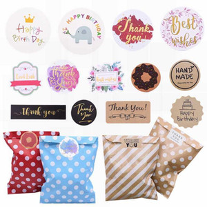 Multicolor Paper Bag Label Thank You Happy Birthday Print Sticker for Wedding Birthday Party Handmade Craft Bag Sticker Supplies1