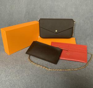 Bolsos de bolsos más nuevos Bolsas Moda Mujeres Bolsas de hombro Bolsas de alta calidad Combinación de tres piezas B tamaño 21 * 11 * 2 cm 61276 con caja