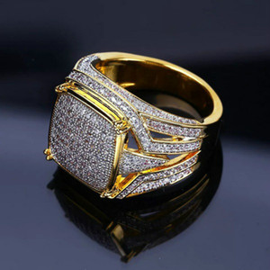 hip hop 18k gold Rings square diamond ring champion motorbike rings for men fashion jewelry will and sandy gift