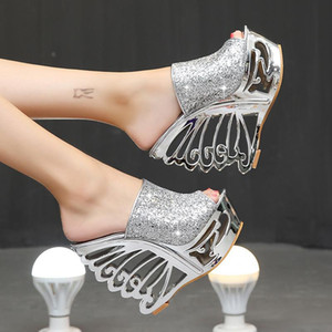 Sexy super high heels wedge with sequins, special personality, special-shaped heels, wedding shoes, bridal shoes, 15 cm slippers