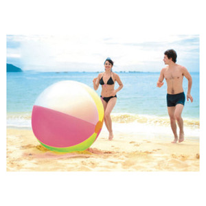 After Inflating 80cm Children Large Size Rainbow Inflatable Beach Swimming Ring Pool Float Outdoor Game Ball Freeshipping Z1202