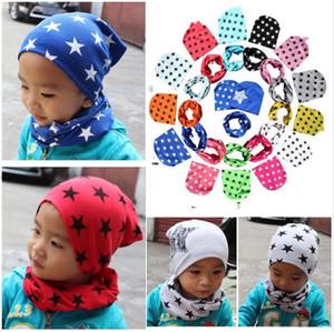 Bebekler Bebek Çocuk Yıldız Baskı Beanie Şapka Ve Eşarp 2 Parça Set Erkek Kız Sevimli Bandana Kafatası Caps Pamuk Çekim Atkısı Şapkalar E121502