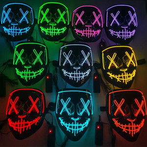 Halloween Horror mask LED Glowing masks Purge Masks Election Mascara Costume DJ Party Light Up Masks Glow In Dark 10 Colors BWC3994
