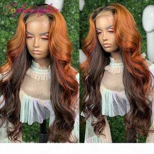 Ginger Might Might Orange 13x6 Dentelle Avant Human Hair Perruques Précédent Brésilien Remy Dentelle Perruques Frontales Ombre Wavy 180%