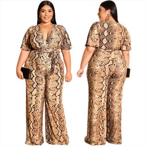 Summer Womens Casual Style Straight Jumpsuit Long Pant Short Sleeves Sexy V neck Snakeskin Jumpsuit with Belt Plus Size