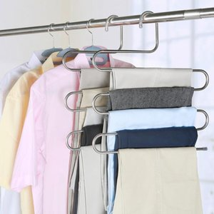 2020 New 5 layers Stainless Steel Clothes Hangers S Shape Pants Storage Hangers Clothes Storage Rack Multilayer Storage Cloth Hanger