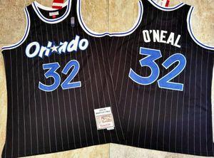 MännerOrlando.Magic ShaquilleO'Neal Mitchell Ness Basketball-Jersey, schwarze Präzision genäht gestickter Basketball J