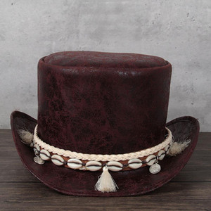 3 Size Women Leather Top Hat President Fedora Hat Magic Flat Steampunk Cosplay Pork Pie Party Caps Dropshiping 13CM