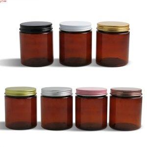 250g Larger Empty Amber Cream Cosmetic Jar 250cc 8.3oz Brown PET Conatiner Make Up Tools Aluminum Lid With PE Pad 20pcsgood qualtity