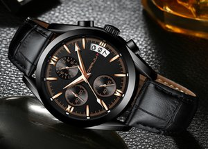2020 CRRJU Men Military Watches Male Black dial Business quartz watch Men's Leather Strap Waterproof Clock Date Multifunction Watches