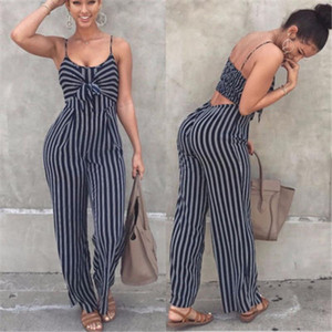 Verano Nuevo Bodycon Bodycon Backless Stripe Pumpsuits Mujeres Sexy Party Clubwear Sumpsuits Casual Bowtie Overms Oldmsuit Tallas grandes