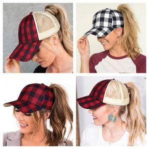 Plaid Criss-Cross Hollow Out Baseball Cap Tartan Plaids ponytail Ball Hat Women Mens Backpack Adjustable Mesh Patchwork Visor hot