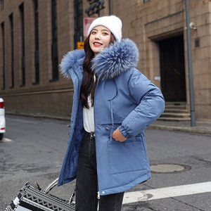 Women's Winter Jacket Slim Thick Fur Collar Long Parkas Woman Hooded Solid Plus Size Korean Style Cotton Padded Female Cold Coat Z1202