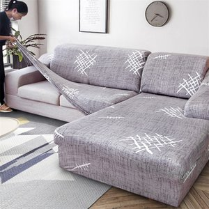 2 PCS Elastic Covers for Sofa Living Room L shaped Sofa Cover Case Chaise Longue Couch Slipcover Corner Sofa Cover Stretch 201221
