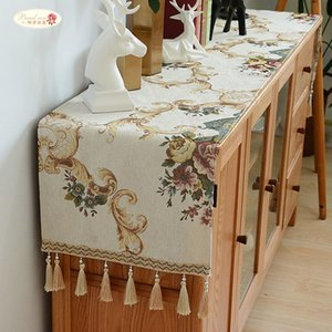 Proud Rose European Chenille Table Runner Tablecloth TV Cabinet Cover Table Mat Shoes Cabinet Cover Towel Cloth with Tassel F1214