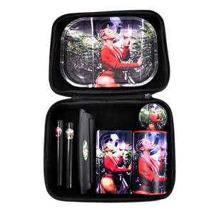 Rolling Tray Grinder Tobacco jar New Pipe Set Cigarette Tray Grinder Set Creative Pattern Smoking Set bong