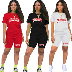 Women Tracksuit Summer t Shirts and Shorts Suit Letter Print Top Tees 2 Pieces Set Joggers Sport Outfit for Woman Matching Sets Y201128
