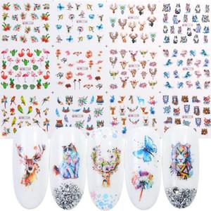 12 unids Pegatinas de uñas Flores de tinta Flamingo Animales Transferencia de agua Tatuaje Tatuaje Nail Art Decorations Foils Wraps Manicure TRBN-2