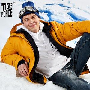Tiger Force Oversize Winter Ski Sport para homens impermeáveis neve falsa dois jaqueta com capuz masculino engrossar casaco 201026