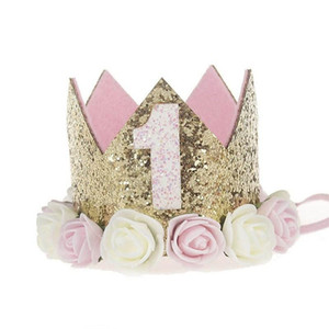 Girl's First Birthday Decoration, First Flower Party, Crown, Second, Three-year-old Figure, Princess Pink Hat, Baby Hair Accessories