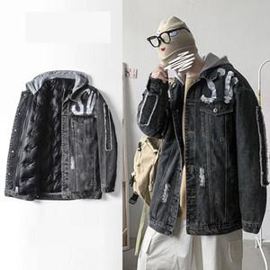 Мужские пуховики Parkas Beatwork Hole джинсовые куртки зима теплый пиджак с капюшоном для мужчин плюс размер свободных джинсов повседневная одежда S-5XL