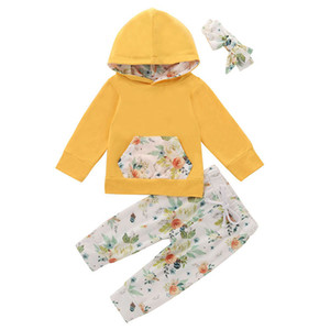Baby Floral Outfits Infant Printed Hooded Sets Toddler Baby Pocket Long Sleeve Hoodie Suit Kids Flower Printed Pants With Headband lababy72