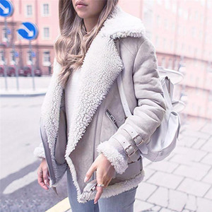 Winter Women Faux Fur Fleece Coat Outwear Warm Lapel Biker Motor Aviator Jacket Lady Deer Leather Velvet Lamb Cotton Coat