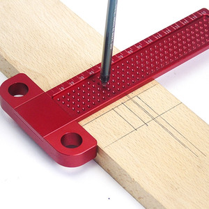 Woodworking Scribe 260mm T-type Ruler Hole Scribing ruler Drawing Marking Gauge crossed-out Measuring Tools woodworking tools 201116