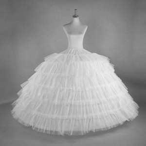New 6 Hoops Big White Quinceanera Dress Petticoat Super Fluffy Crinoline Slip Underskirt For Wedding Ball Gown