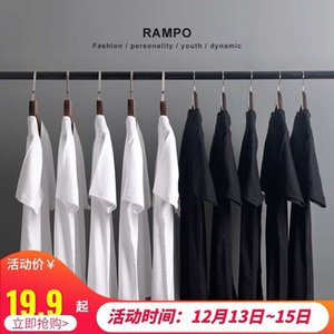 Japan thick solid color short T-shirt for men and women all cotton round neck bottoming shirt fashionable white half sleeve