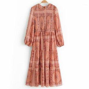 Robe de mousseline de mousseline de mousseline à manches longues à manches longues Wxwt pour femmes