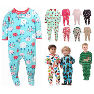 Children boys and girls fleece Siamese climbing clothing with foot warm pajamas baby leotard Romper bag fart long climb 201201