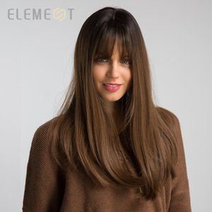 "Element 18"" Long Synthetic Wig with Bangs Dark Root Ombre Color Natural Headline Heat Resistant Hair Wigs for Women"