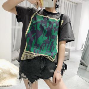 Women Letter Graffiti Print T-Shirt O-neck Summer T-shirt Z1116