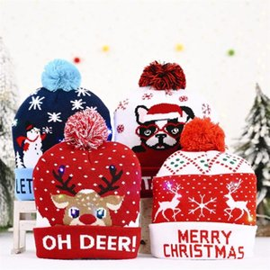 Mens Women Chlidren Beanie Winter Christmas Hats Knitted Hats With LED Light Flash Lamp Christmas New Year 2021