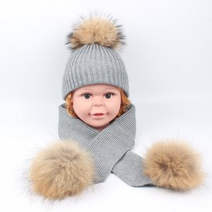 Baby Wool Hat and Scarf Set Top Quality Boys and Girls Kids Fur Ball Beanie Hats and Scarves 8 Colors