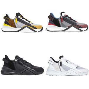 2021 Erkekler Tasarımcı Akış Sneaker Luxurys Tasarımcı Ayakkabı Fermuar Mesh Deri Eğitmenler Kadın Deri Moda Rahat Ayakkabılar Runner Ayakkabı 259