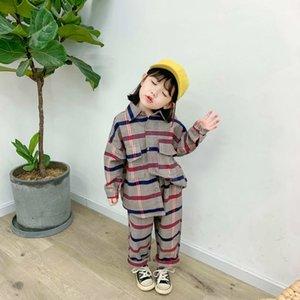 Childern Baby Fall / Winter Sets Ropa Nuevo Patrón de Plaid Niños Chica Cotton Camisa de algodón + Niño Pantalones de piernas de ancho para bebés Dos piezas Y200325