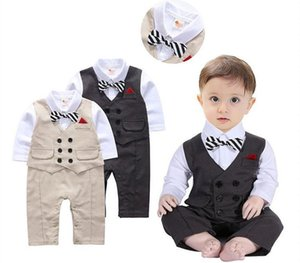 Baby Boys Rompers Designer Kids Stripes Lapel Long Sleeve Jumpsuits Infant Girls Letter Embroidery Cotton Romper Boy Clothing