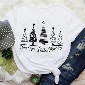 Women Simple Cute Star Tree Fashion 90s Holiday Merry Christmas Print Tops Lady Female Graphic Tees Clothes T Shirt T Shirt