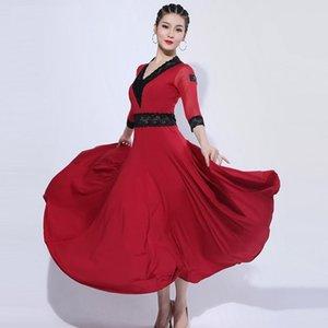 billig ballroom dance kleid frauen walzer dress lateinisch ballrein rot tango dent dance kostüme frauen tragen spitze lang