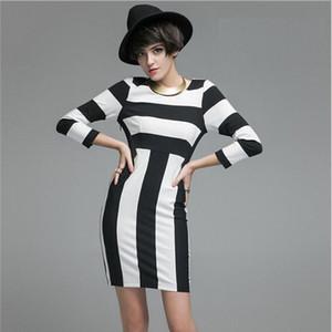 Women Office Work Dress Autumn Round Collar Black And White Zebra Print Three Quarter Sleeve Fashion Female Sexy Dress