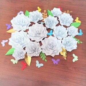 2020 Giant Paper Foam Roses Backdrops 13pcs + Leaves 11pcs + Butterflies 14pcs Wedding Decor rose artificielles pour le mariage