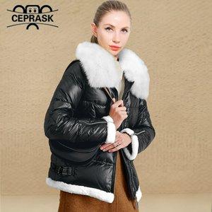 CEprask New Winter Jacket Mulheres Plus Size Moda Mulher Mulher Casaco de Inverno Com Capuz Pele Real Aquecer Jaquetas Parka Outerwear 210204