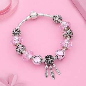 Leabyl New Design Antique Tibetan Silver Dreamcatcher Pendant Charm Bracelets Bangles Pink Ball Crystal Diy Bead Bracelet Gift