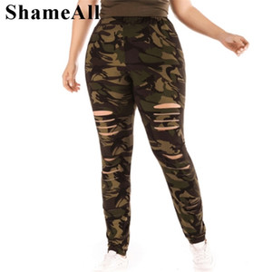 Plus Size Ripped Hole Camouflage Printing Elasticity Leggings 4Xl 5Xl High Waist Slimming Fitness Legging Pants For Women Q1123