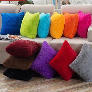 Solid Long Pillow Cushion Cover Home Decor Plush Pillowcase covers for Sofa Seat Chair Car